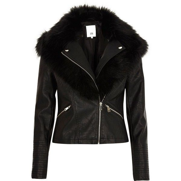 River Island Black faux fur collar biker jacket ($130) ❤ liked on Polyvore featuring outerwear, jackets, black, coats / jackets, women, tall motorcycle jacket, fake leather jacket, faux leather biker jacket, vegan leather jacket and motorcycle jacket