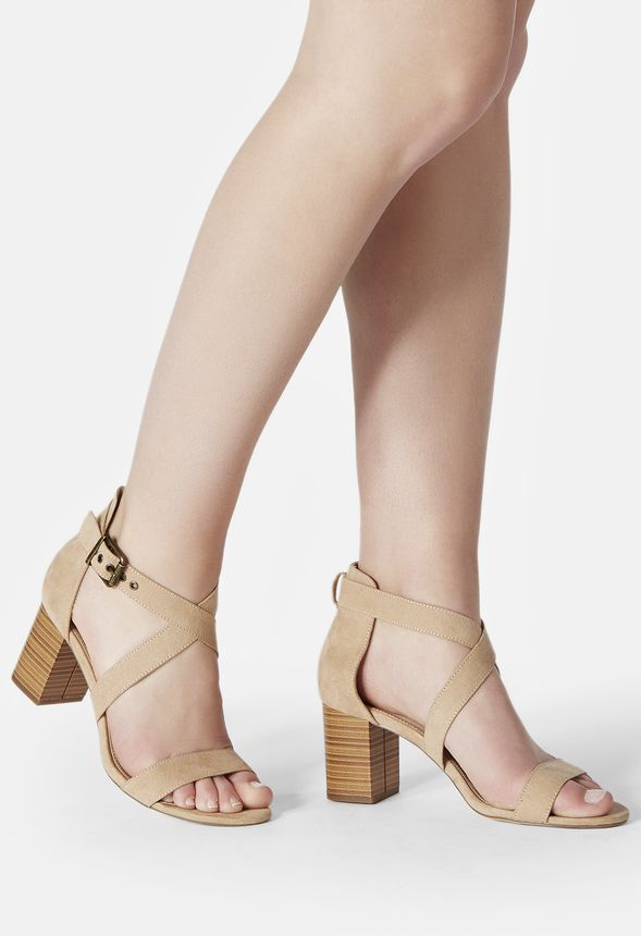 A chic faux suede sandal with a low block heel and crisscross ankle strap  buckle closure....  anklestrapsheelschic