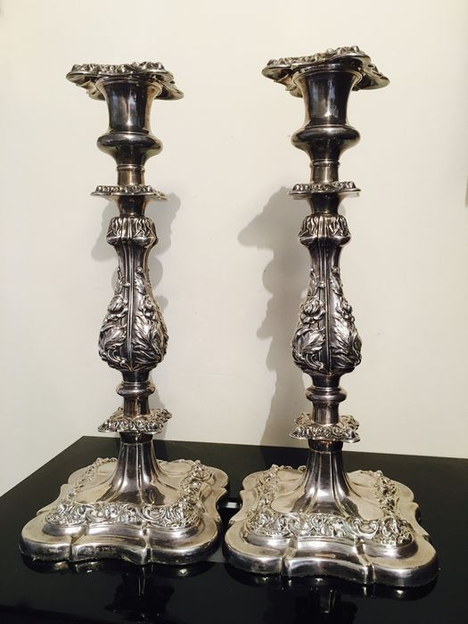 Pair of silver filled table candle sticks, by Barker Ellis Co Ltd, Birmingham 1970