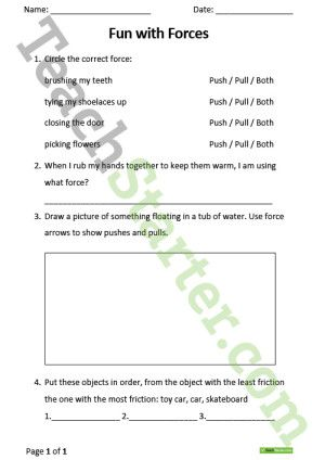Push and Pull – Fun with Forces Worksheet
