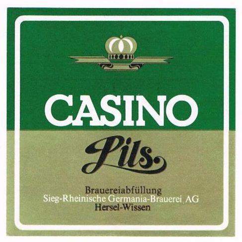 """Casino Pils (Flaschenetikett). In den 70er Jahren wurde ein preiswertes """"Billigbier"""" gebraut, dessen Qualität von den Experten zwar belächelt, aber letztlich im gleichen Brauverfahren hergestellt wurde. Ich habe niemals einen Geschmackssunterschied festgestellt."""