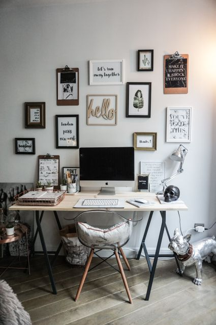 Love the gallery wall of this dreamy workspace super inspiring noholita the post a dreamy parisian workspace appeared first on daily dream decor