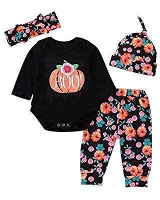 f581e2cca Zukuco Baby Girl Halloween Outfit Pumpkin Romper + Floral Pumpkin ...