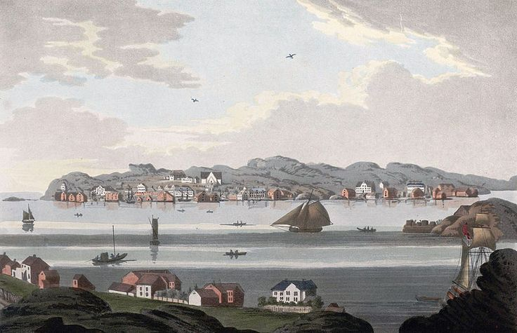 """File:Town of Christiansund (JW Edy plate 75).jpg English: """"Town of Christiansund"""" Norsk bokmål: «Byen Christiansund» Drawing by John William Edy (1760-1820) from his journey along the coast of Norway during the summer of 1800. Published in Boydell's picturesque scenery of Norway in 1820."""