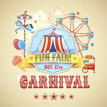 fete foraine: Vintage d'amusement de carnaval parc juste à thème vecteur d'affiche de l'illustration publicitaire