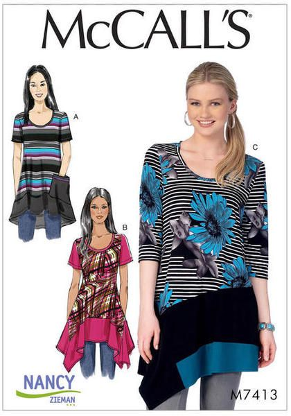 Misses'/Women's Knit Tops with Asymmetrical Hemlines  Pullover tops are semi-fitted through the bust, have scoop neckline, bias neck binding, shaped hemline, and sleeve variations. A: Wrong side of fabric shows. Pocket with optional purchased ribbon trim. A, B: Short sleeves. B, C: Narrow hem. C: Three-quarter length sleeves.    For moderate stretch knits only.