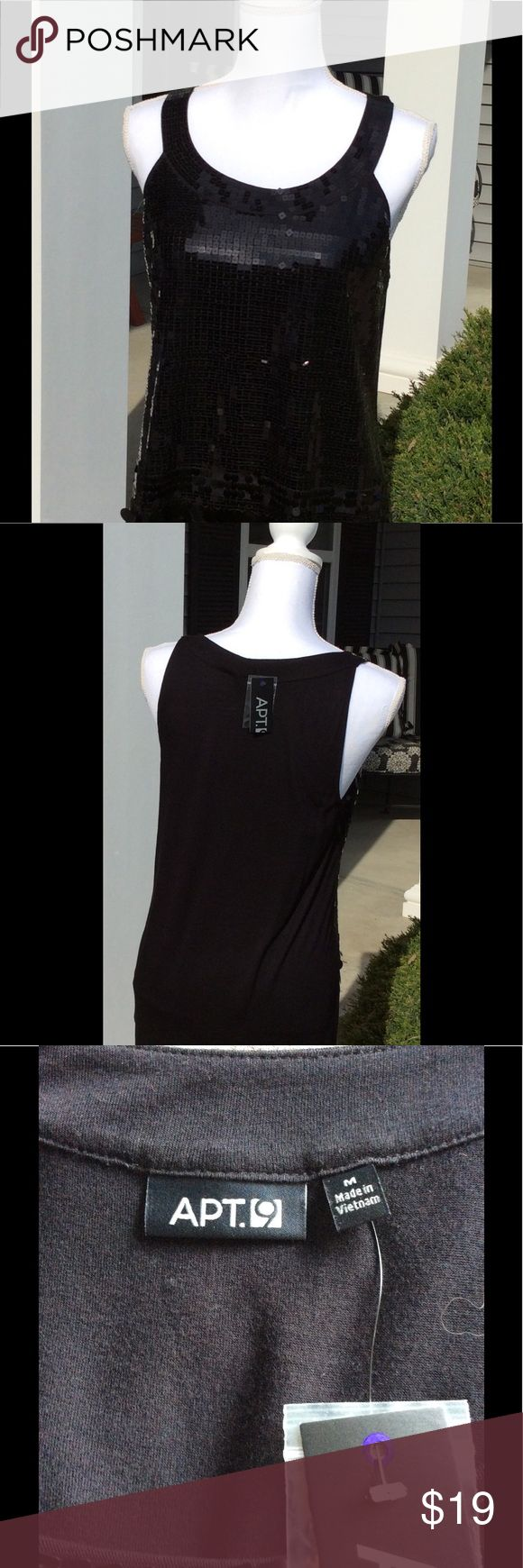 Apt. 9 black sequin tank size M Pretty black sequin tank by Apt. 9. Size M. NWT never worn. Great for date night or a girl's night out. Apt. 9 Tops Tank Tops