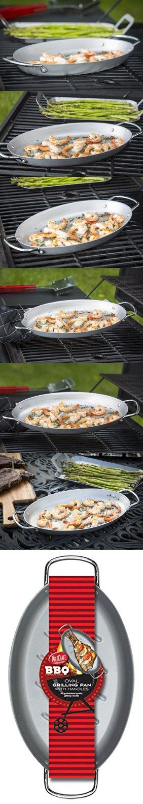 TableCraft BBQ158M BBQ Oval Roasting Pan, Coated Steel, 15-Inch by 7-Inch