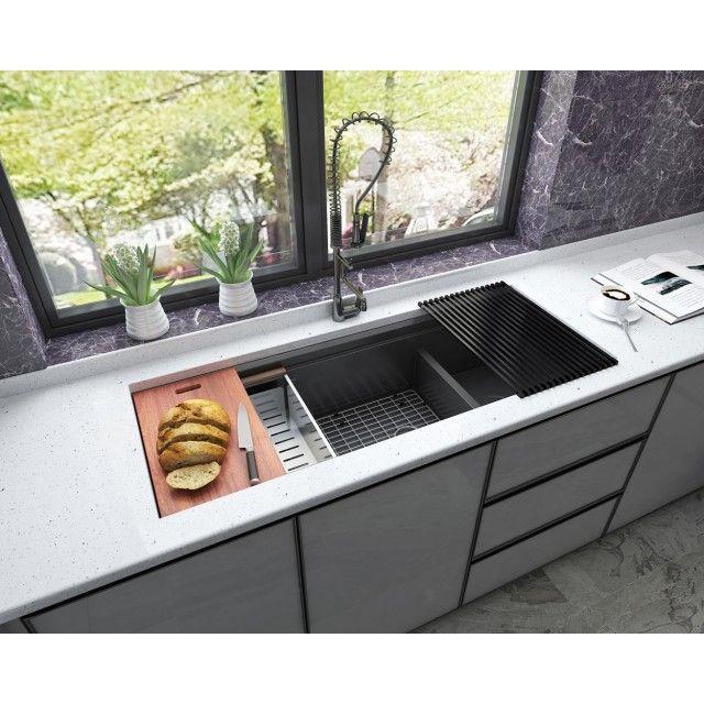 Ariel Enthous Workstation 48 Inch Undermount 16 Gauge Double Bowl