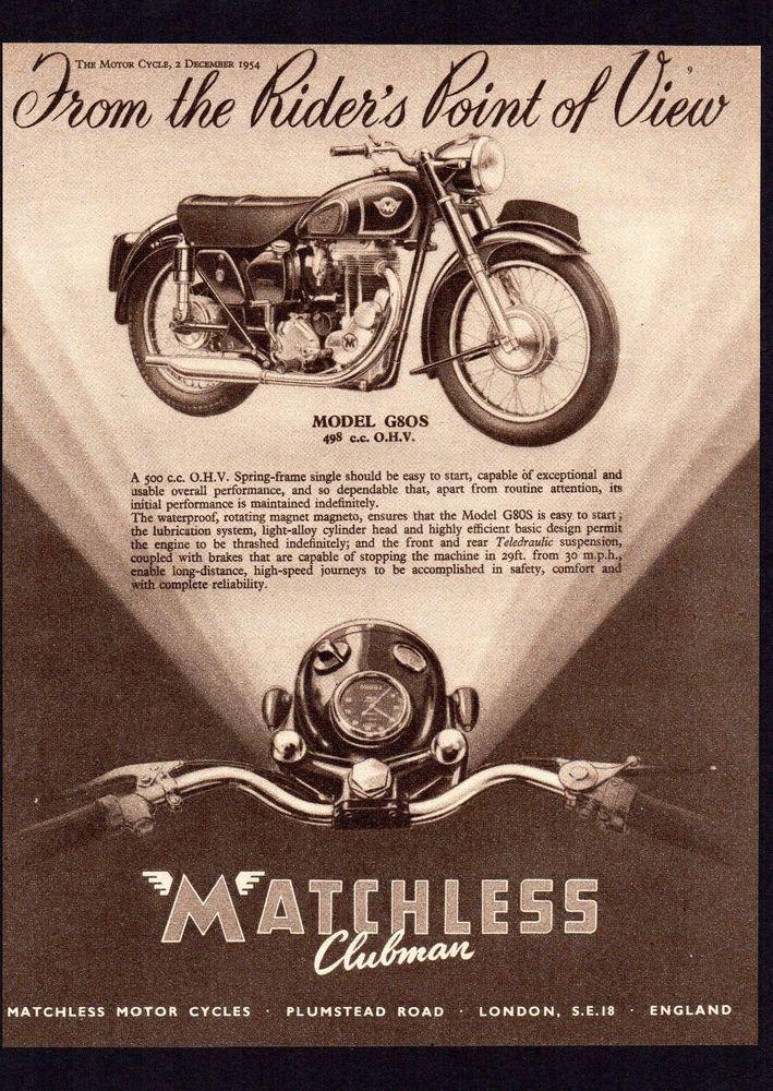 1954,1955 MODEL MATCHLESS G80S MOTORCYCLE 500 SINGLE G80.MAGAZINE ADVERT.