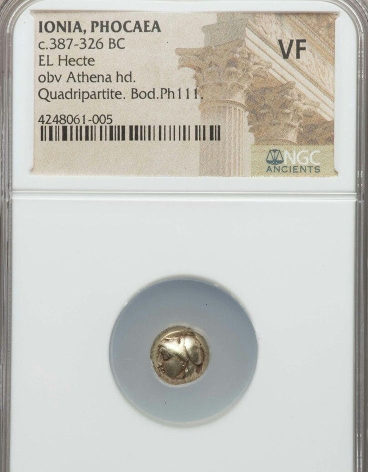 Item specifics     Coin Type:   Ancient   Certification:   NGC     Composition:   Gold      Ionia Phocaea El Hecte NGC VF ancient gold coin  Price : $399.00  Ends on : 4 weeks Order Now