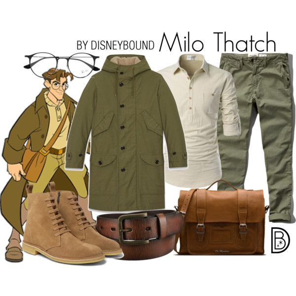 Milo Thatch by leslieakay on Polyvore featuring Abercrombie & Fitch, Yves Saint Laurent, Bottega Veneta, Uniqlo, Dr. Martens, Ray-Ban, men's fashion, menswear, disney and disneybound