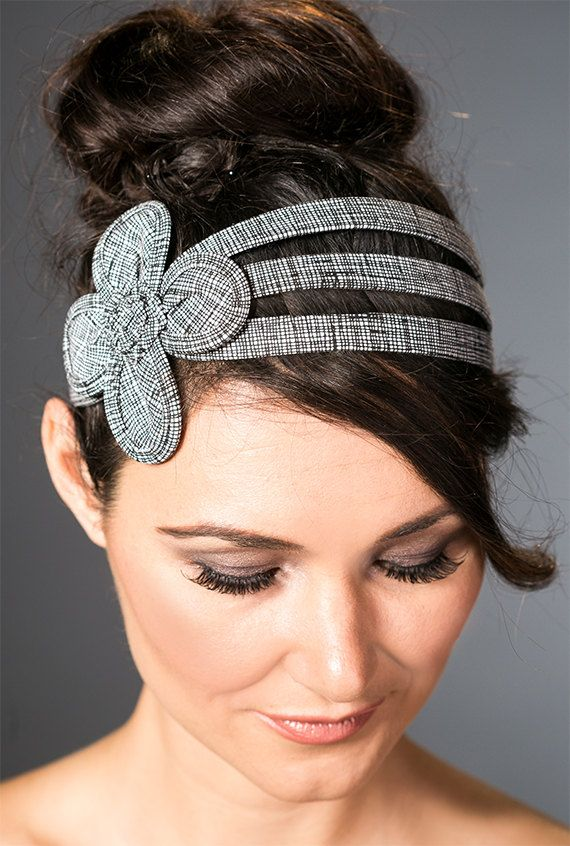 This Big flower womens headband has a retro flare made in black and white hatch stitch cotton.    Check out more of my Big Flower headbands below
