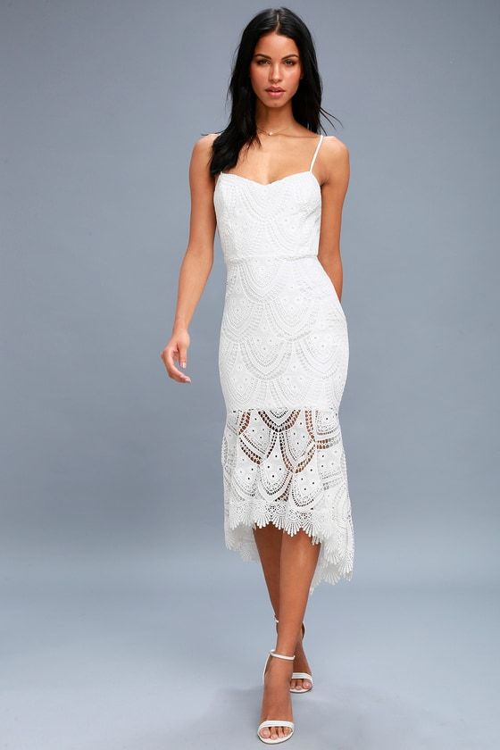 Lulus Exclusive! Heat up the dance floor in the Pure Passion White Lace Bodycon Midi Dress! Adjustable spaghetti straps top a sleeveless princess-seamed bodice formed from chic crochet lace over a knit lining. Fitted waist and bodycon midi skirt with a sheer, high-low, trumpet hem. Exposed silver back zipper/clasp.