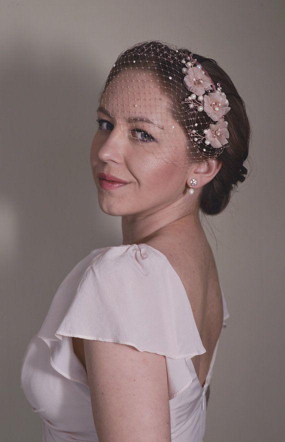 Pink Fascinator Birdcage Veil Bridal Headpiece Cherry a81ca97bf6b