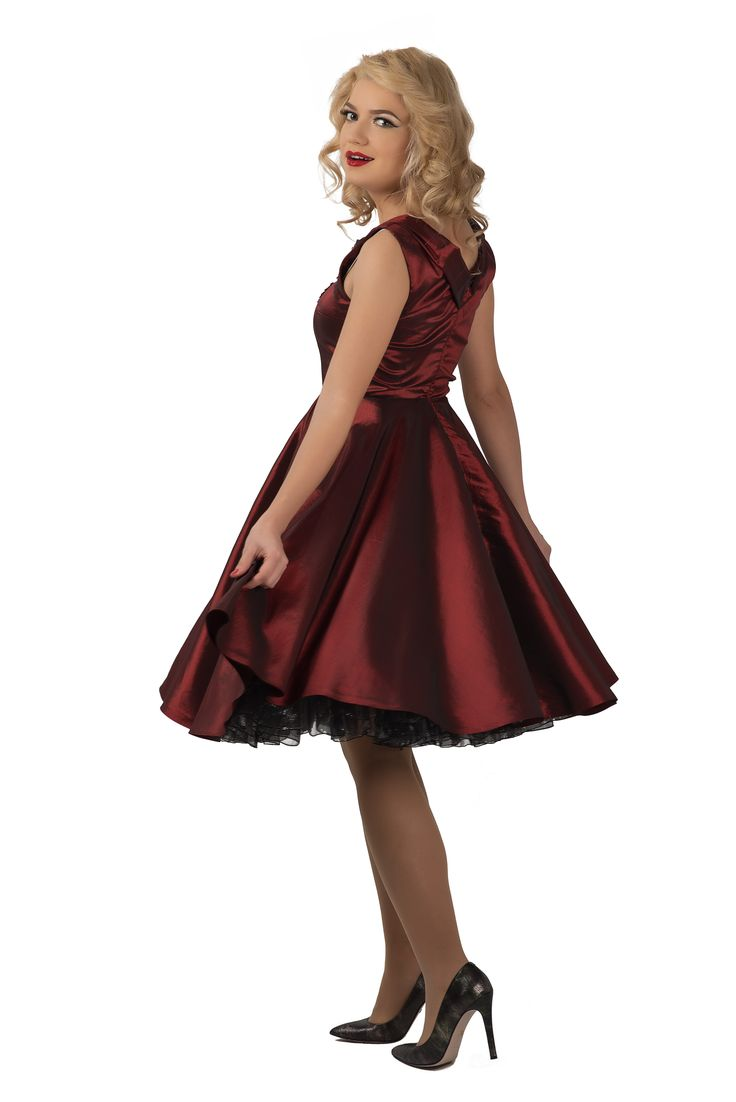 deep red taffeta 50's dress www.sabinne.com