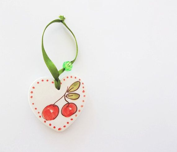 Red Cherry ceramic heart Baby shower favor by IoannasVeryCHic
