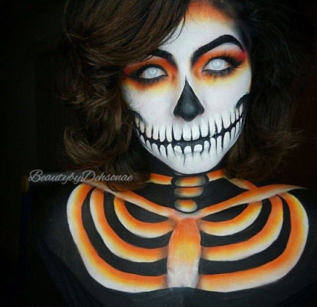 for a scary halloween makeup look use face paint to create this orange and black - Easy But Scary Halloween Makeup