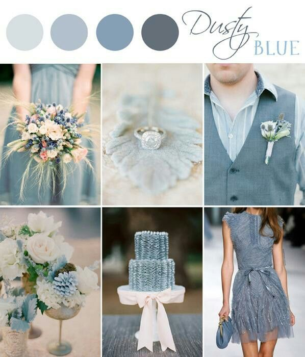 Beautiful combination of dusty blue with blush.