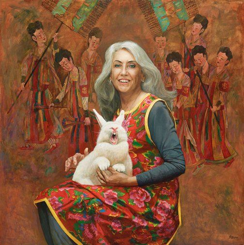 Jiawei Shen: How to explain art with a white rabbit :: Archibald Prize 2015 :: Art Gallery NSW