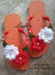 Image result for sandalias havaianas decoradas croche