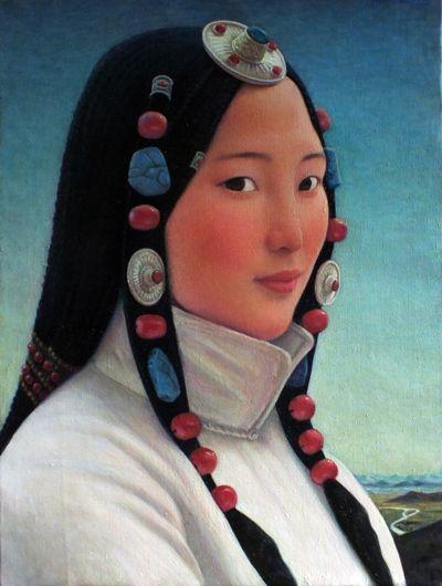 xue mo artist | Xue Mo_Portrait of Miss Nana_2012_24 x 18 inches_oil on linen