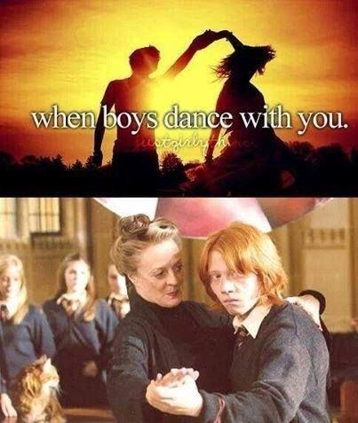 """When boys dance with you"" just girly things… more like Ron giving his brothers the opportunity to embarrass him for life XD"