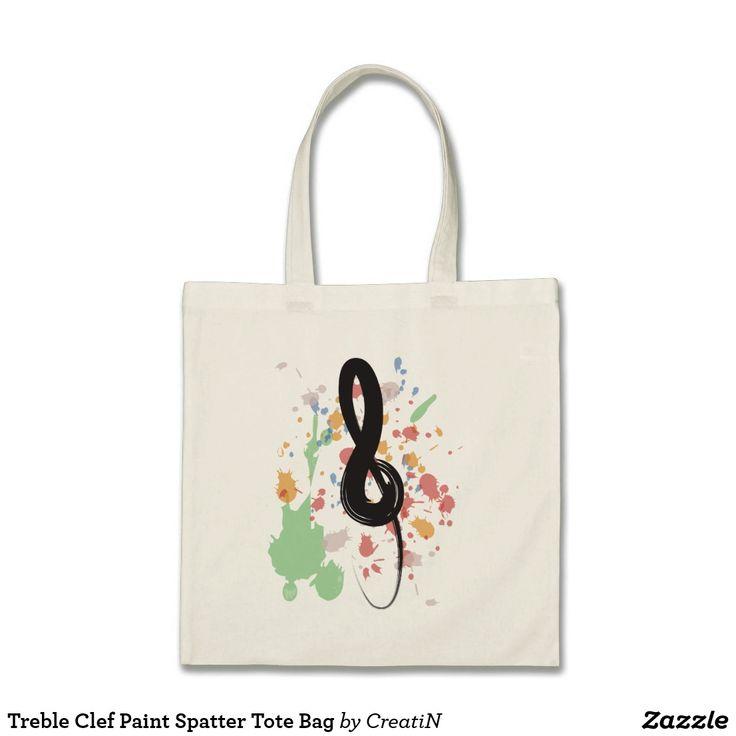 Treble Clef Paint Spatter Tote Bag