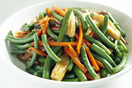 Vegetarian Stir-Fried Garlic Scapes - cut scapes smaller if near end of season and woody.