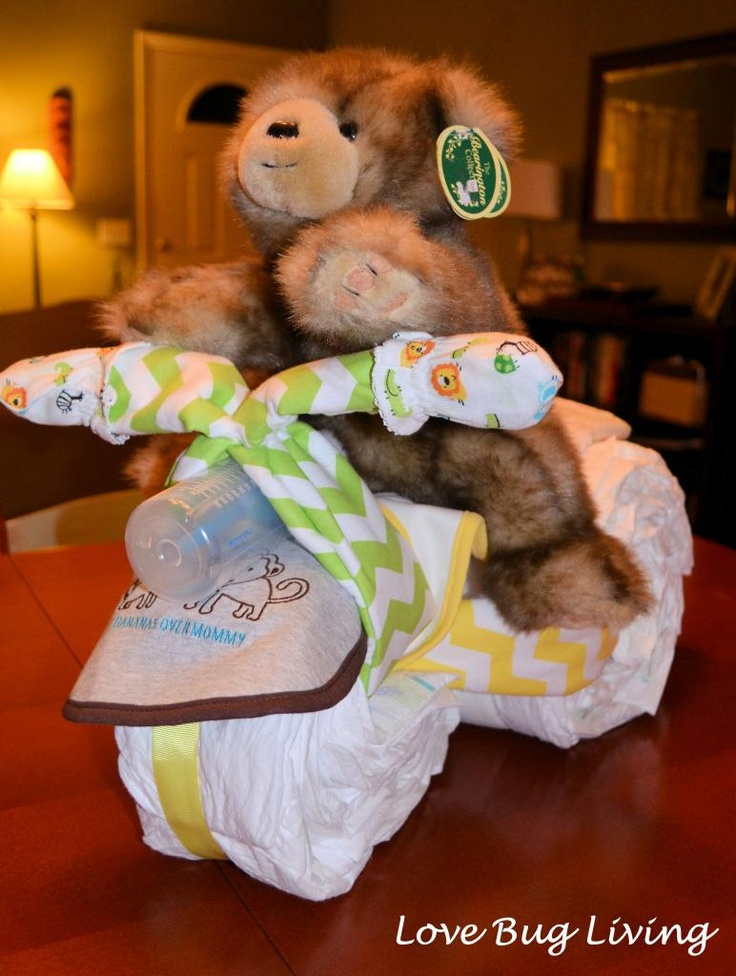 Love Bug Living: Diaper Tricycle Cake Tutorial - Great baby shower gift or centerpiece