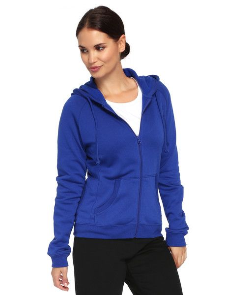 This zip-up hoodie features ribbed cuffs and kanga pockets.