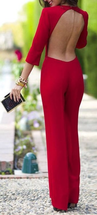 Backless Wide Leg Red Jumpsuit