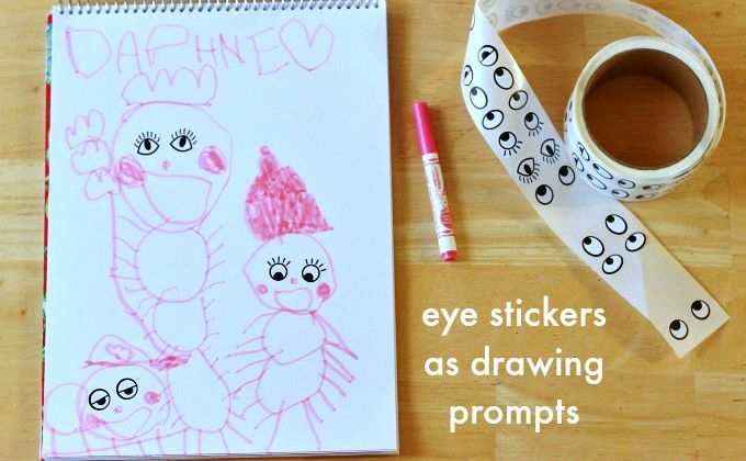 Drawing Prompts for Kids with Eye Stickers and Markers