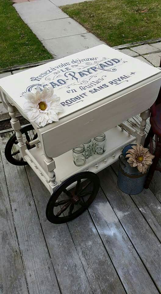 Refinished Tea Cart Annie Sloan Old White with Distressing and clear wax . Facebook.com/rustiquelegance :)