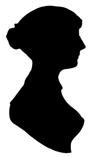 Jane Austen silhouette, found here: http://bebookbound.blogspot.com/2012/02/jane-austen-month-day-30-cameo.html