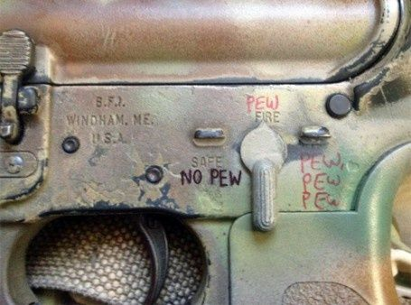 NO PEW. PEW. PEW PEW PEW. Selective fire description, firearms firing mode switch, safe, no fire, single round, three-round, automatic, semi-automatic, burst fire, weapons, guns, M4 carbine, M4A1, humor, funny.