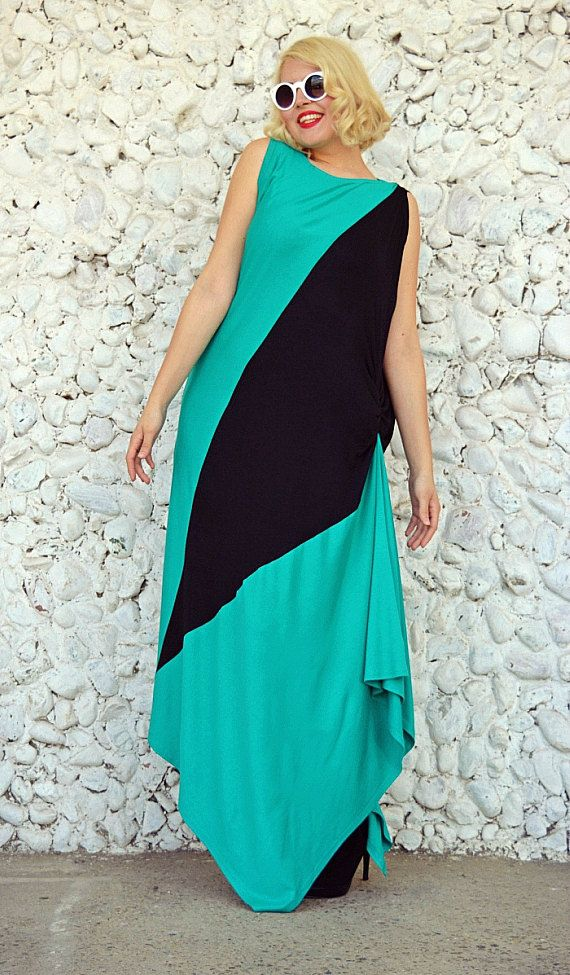 Asymmetrical Maxi Dress / Bicolor Plus Size Dress / Funky https://www.etsy.com/listing/271435865/asymmetrical-maxi-dress-bicolor-plus?utm_campaign=crowdfire&utm_content=crowdfire&utm_medium=social&utm_source=pinterest
