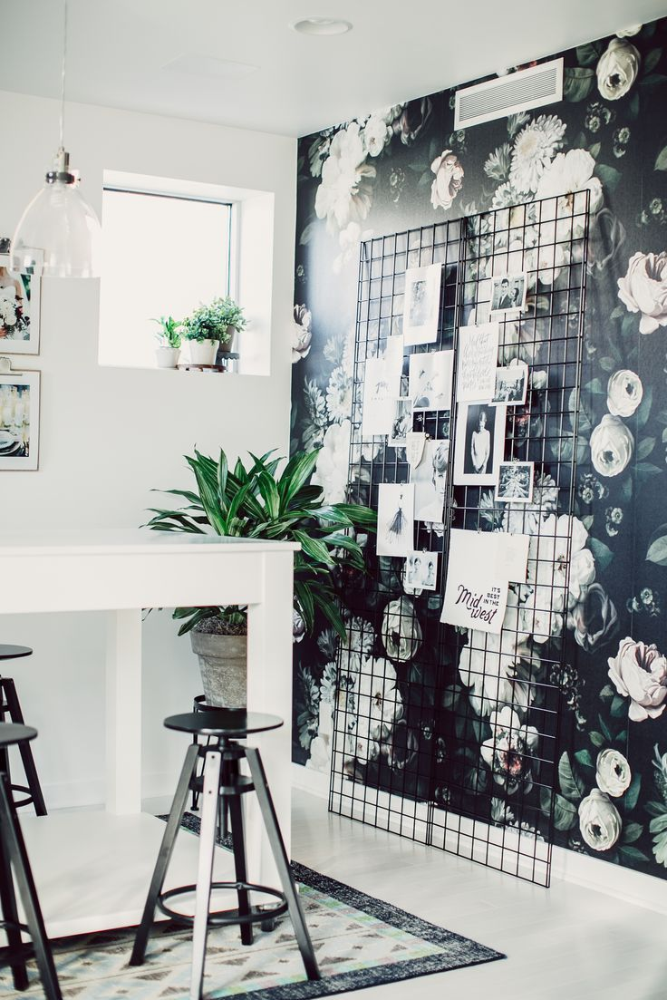 cramped office space. This Beautiful Monochromatic Living Space Features A Dark Rose Print Feature Wall That Coordinates Perfectly With The Minimalist Black And White Theme Cramped Office