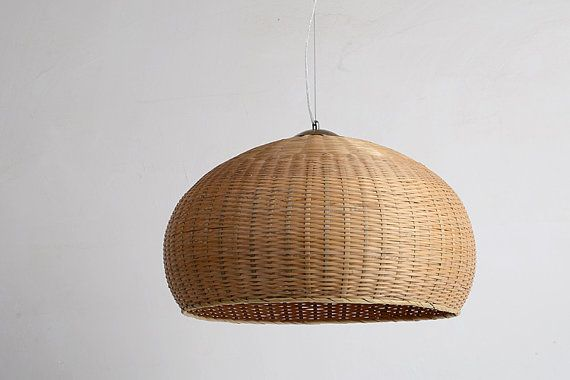 Large Bamboo and Wood basket pendant lamp by LightwithShade