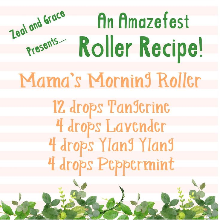 This is one of my go-to roller recipes! In a 10 ml roller, fill it halfway with the carrier oil of your choice and then add the following essential oils  Tangerine is super uplifting, Lavender and Ylang Ylang help with my momma patience, and Peppermint puts a pep in my step!