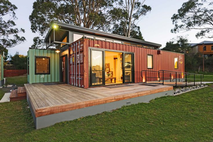 External shot of our new shipping container accommodation. Fully self container-ed!
