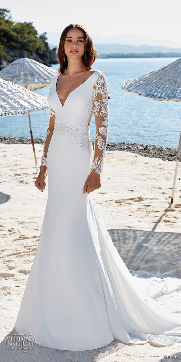 eddy k 2018 bridal long sleeves v neck simple elegant fit and flare wedding dress sheer lace back chapel train (25) mv -- Eddy K. Dreams 2019 Wedding Dresses