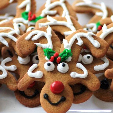 Make reindeer cookies from upside-down gingerbread men