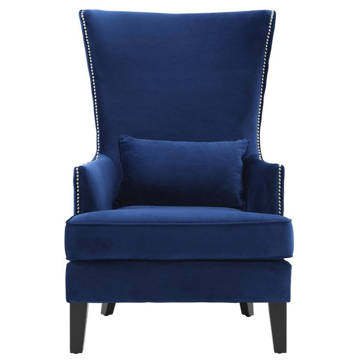 Jacinto velvet wingback chair high back accent chairs