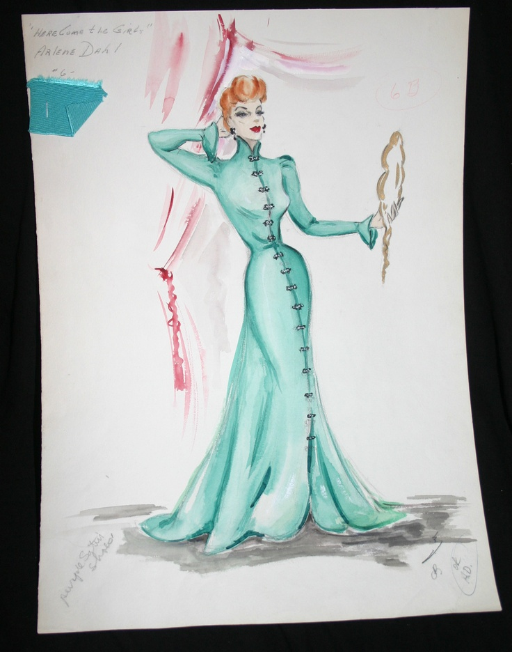 Edith Head sketch for Arlene Dahl in Here Come the Girls (1953)