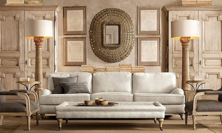 Restoration Hardware Living Room Symmetry Pinterest The Floor Floor Lamps And Ottomans