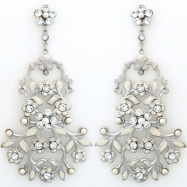 The epitome of bohemian glamour. Romantic. Delicate. A flowing vintage bouquet of hand-painted ivory leaves and tiny flowers create these boho chic bridal chandelier earrings.  See more here: https://perfectdetails.com/heal-the-world-earrings-sm.htm