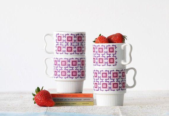 Mod Geometric Mugs Set of 4  Purple and Pink Retro by alivingspace