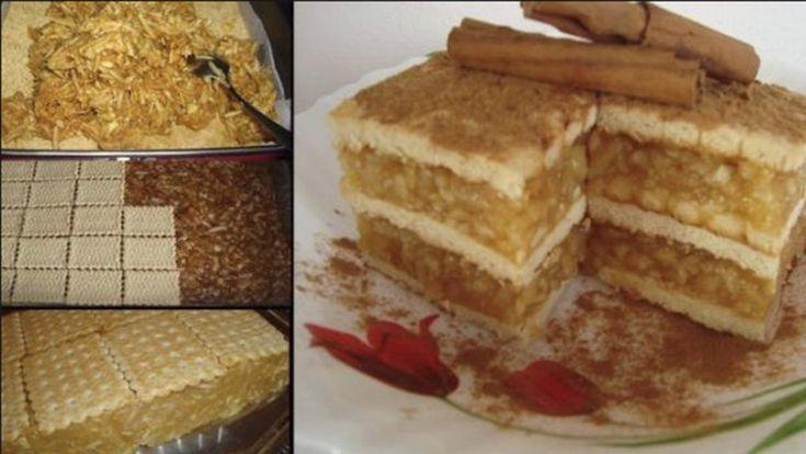 Prajitura cu biscuiti, mere si budinca. Iatacum o poti face si tu Ingrediente: 1 kg mere 200 gr biscuiti simpli 200 gr zahar scortisoara 1 budinca de vanilie 300 ml apa Mod de preparare: Se curata merele si se rad. Se pun la foc