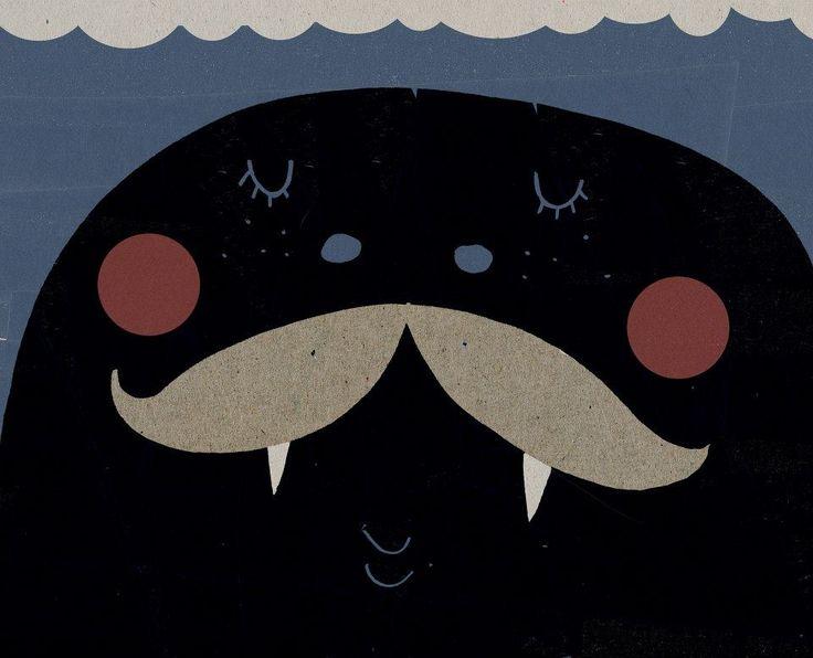 mustache seaside for Movemver event by Maria Dek https://www.facebook.com/dekillustration
